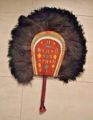 African Hausa Nigeria leather ostrich feathers fan    27 x 21 inches    #b