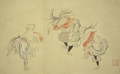 "JAPANESE HANGING SCROLL : HANABUSA ICCHO ""Dancing People""  @e498"