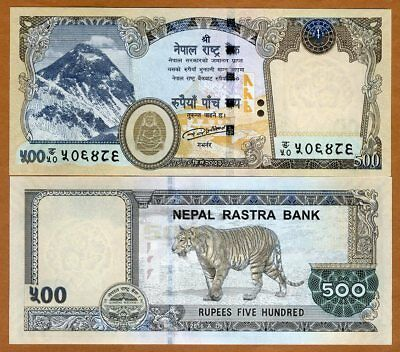 Nepal, 500 Rupees, 2016 (2018), P-New, UNC > Magnificent Tiger, Everest, Buddha