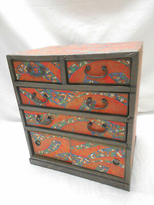 Vintage Decorative Paper Makeup Box Japanese Drawers  C1950s #770