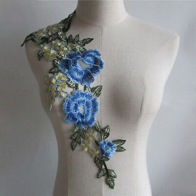 blue clothing applique embroidery neckline decorate accessory YL413