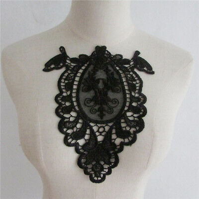 Decorated Lace Neckline Fabric Polyester Flower Embroidery Collar Applique Trims