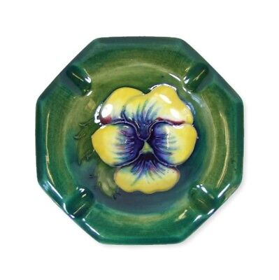 Moorcroft Pansy Pattern Octagonal Ashtray - Made in England