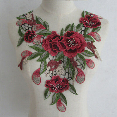 Lace Embroidered Venise Floral Collar Applique Trim Sewing Craft Neckline YL749