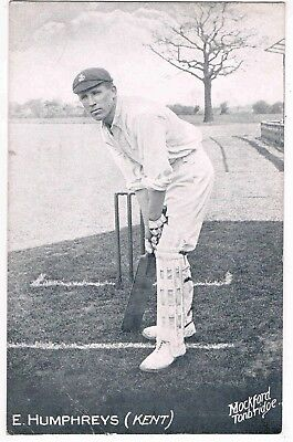 "CRICKET - EDWARD ""PUNTER"" HUMPHREYS, PLAYED FOR KENT COUNTY CRICKET CLUB, 1900s"
