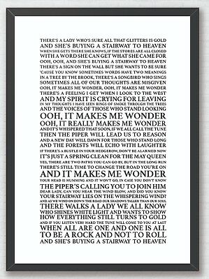 Stairway to Heaven Led Zeppelin  Song Lyrics Typography A4 Print Poster Artwork