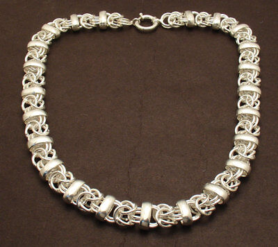 """18"""" Reversible Byzantine Bar Station Chain Necklace Real Sterling Silver 925"""