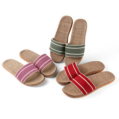 21b0a362370d Women Ladies Striped Slide Flat Straw Sandals Flip Flops Anti-slip Shoe  Size 6-