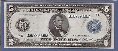 1914 $5 FRN,Blue Seal Large Note,7-G Chicago,FR 870,circulated Very Fine,Nice!
