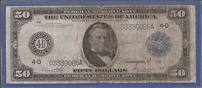 1914 $50 FRN,Blue Seal Large Note,4-D Cleveland,FR 1039a,Circulated VG,Nice!