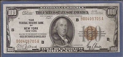 1929 $100 FRBN,National Currency,Federal Reserve Bank of New York,VF,Nice!