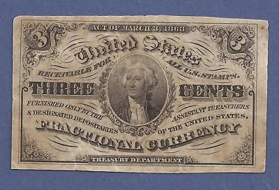1864-1869 3¢ 3rd Issue Fractional Currency,FR 1227,Washington Bust,Fine,Nice!