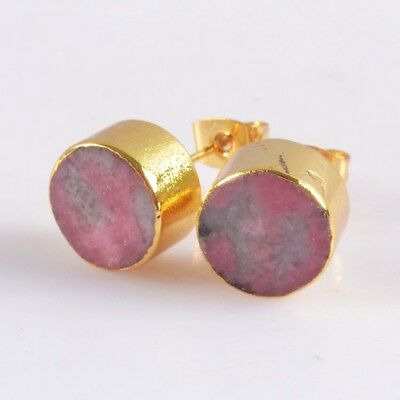 10mm Round Natural Pink Thulite Stud Earrings Gold Plated H115056