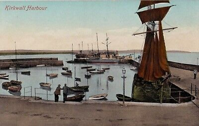 KIRKWALL HARBOUR, ORKNEY, SCOTLAND : POSTCARD (c1905)