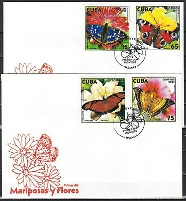 Caribbean Area, Scott cat. 4333-4336. Butterflies on 2 First Day Covers.