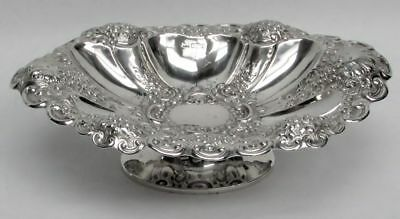1899 Sheffield Sterling Silver Repousse' Pedestal Oval Candy Dish
