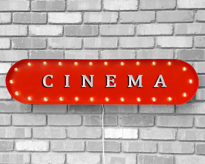 "39"" CINEMA Home Theater Film Movies Vintage Rustic Metal Marquee Light Up Sign"