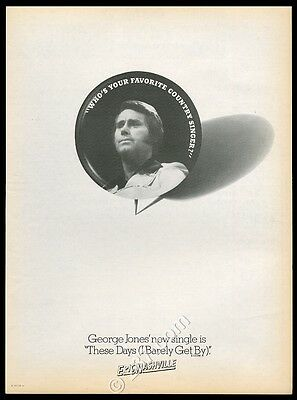 1975 George Jones photo These Days I Barely Get By music trade print ad
