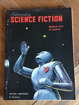 Astounding Science Fiction US SF digest March 1949 - Classic Robot Cover wow!