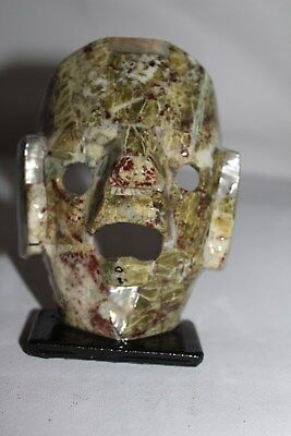 015 Mini Stone Mask  Prehispanic Souvenir Mexican Abalone Shell Concha Craft 5""
