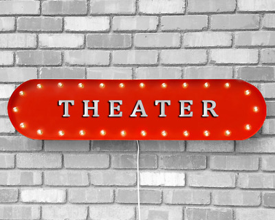 "39"" THEATER Movie Cinema Film Theatre Vintage Rustic Metal Marquee Light Up Sign"
