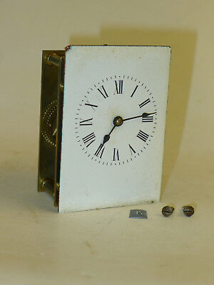 k) French Vintage 8-day mantel carriage clock MOVEMENT, DIAL & HANDS for PARTS