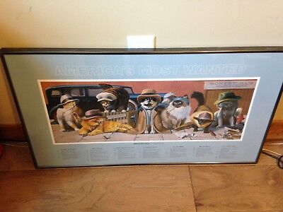 Fabulous Cats Americas Most Wanted Framed Poster By Bryan Moon And Free Shipping