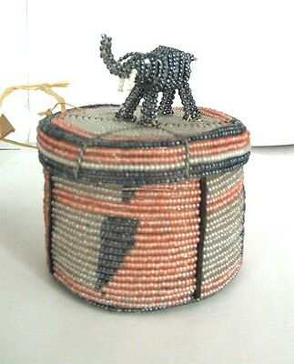 Traditional African Beaded Wedding Box with Elephant top FREE SHIPPING #02