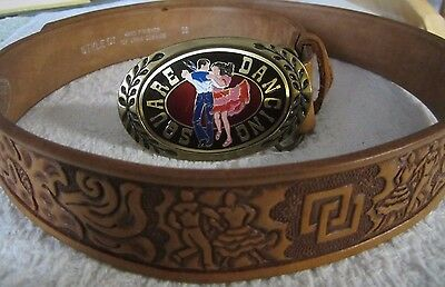 SQUARE DANCING - LEATHER BELT AND Brass BELT BUCKLE - size 38