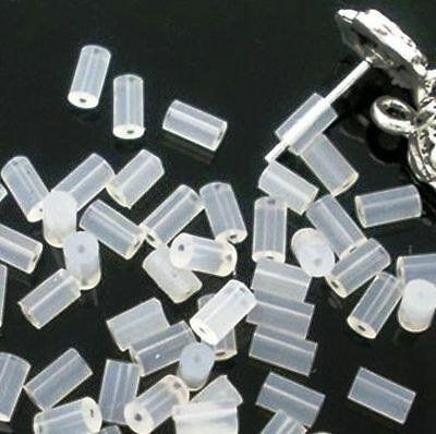 stoppers 50 White Tube Rubber EARRING BACKS fin0408 25 pairs 4x2mm