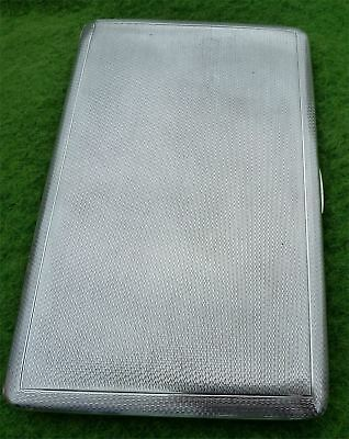 TALL WEIGHTY VINTAGE STERLING SILVER CIGARETTE CASE - BIRMINGHAM 1945 - 6.26 toz