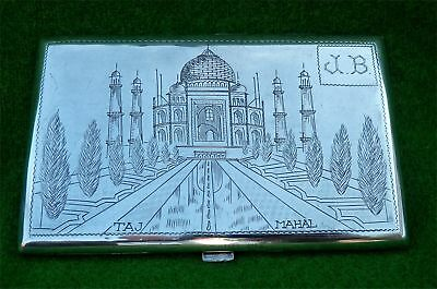 925 SILVER CIGARETTE CASE - TAJ MAHAL FRONT / MAP REAR - MANE BROTHERS - 5.46 oz