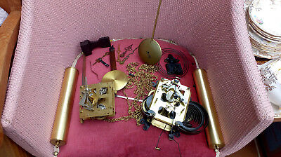 Wall Clock x 2  spares  movements weights etc