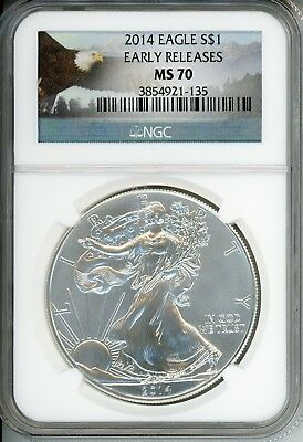 2014 American Silver Eagle $1 Dollar - NGC MS 70 Early Releases - CC854
