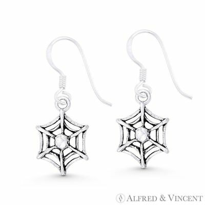 Spider Web Goth Arachnid Charm Solid 925 Sterling Silver Dangling Hook Earrings
