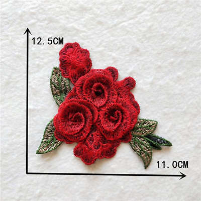 Red Floral Embroidered Lace Neck Collar Flower Neckline Applique YL917