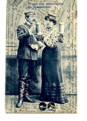 German Couple Hold Large Steins-Typical Dress-Student Life-Vintage 1904 Postcard