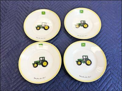 "(4) Gibson JOHN DEERE 9"" Soup Bowl lot nothing runs like a tractor salad ceramic"