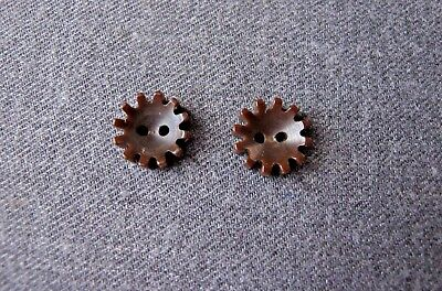 2 Vintage Galalith Steampunk Shaped Interlocking Buttons Craft Jewelry Making 13