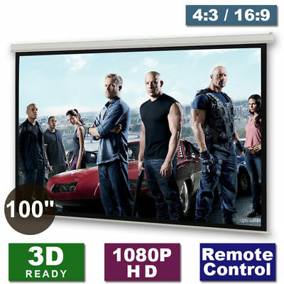 "Motorised 100"" Projector Screen Matte Remote HD White DVD TV Cinema Home 3D"