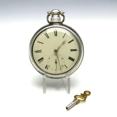 Antique 1829 John Moncas Liverpool Sterling Silver Pair Case Fusee Pocket Watch
