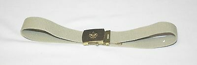 Vintage Boy Scout BSA Solid Brass Buckle & Olive Green Belt Made in USA 29""