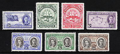Turks & Caicos —Scott 94-100 (Sg 210-216) —1948 Definitive Set  — Mh —Scv $13.95