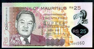 MAURITIUS -  25  RUPEES  2013  Prefix HJ  - P 64 Polymer Uncirculated