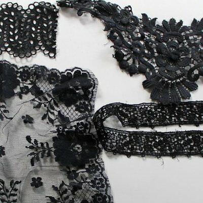 Antique lot of short pieces of Black cotton lace, floral, embroidered lace