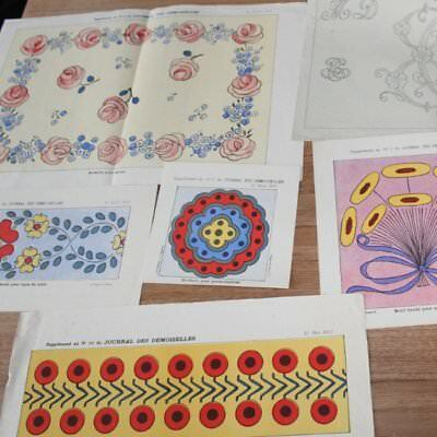 Collection Of 6 Vintage French Embroidery Patterns Dated 1922