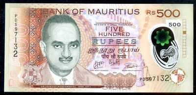 MAURITIUS -  500  RUPEES  2016  Prefix PD  - P 66b  Polymer Uncirculated