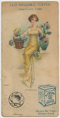 Old Reliable Coffee Horoscope Card - April - Victorian Trade Card