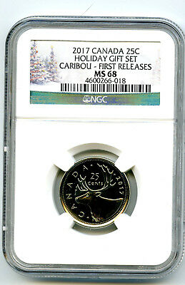 2017 Canada 25 Cent Holiday Quarter Ngc Ms68 First Releases Pop Only 13