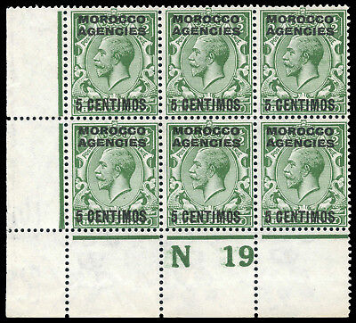 "Morocco Agencies 1914 KGV 5c on ½d CONTROL ""N19"" block of 6 Mint / MNH. SG 129."